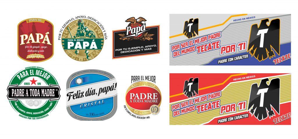 Marcas cerveza pack dia del Padre Vectores