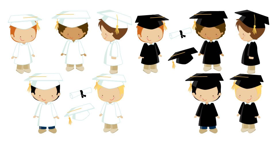 Diseños niños graduacion vectores