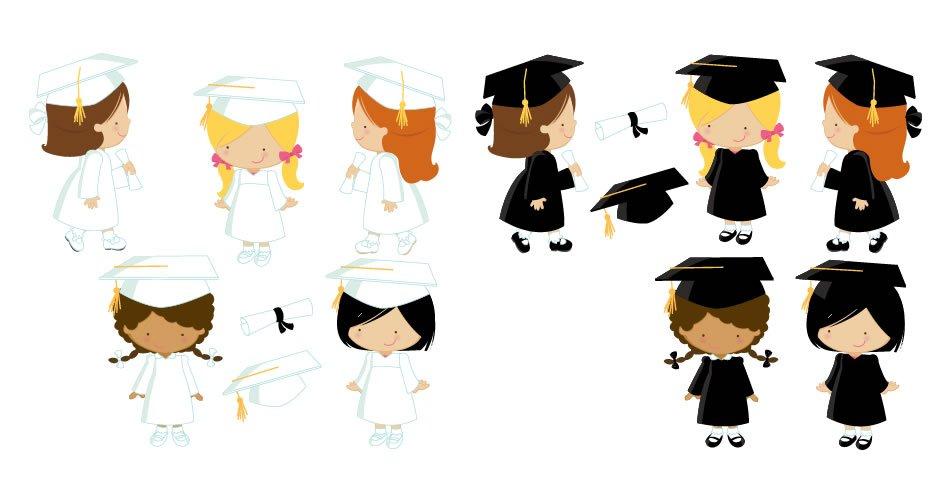 Diseños graduacion niñas vectores