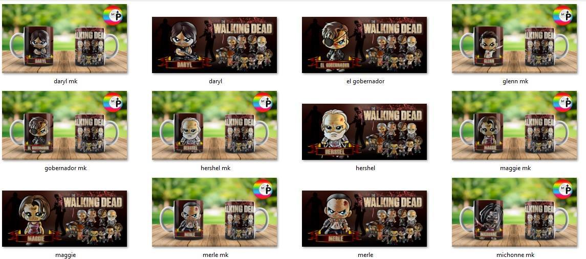 Tazas the walking dead chibis plantillas