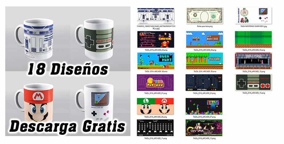 Diseños tazas videojuegos