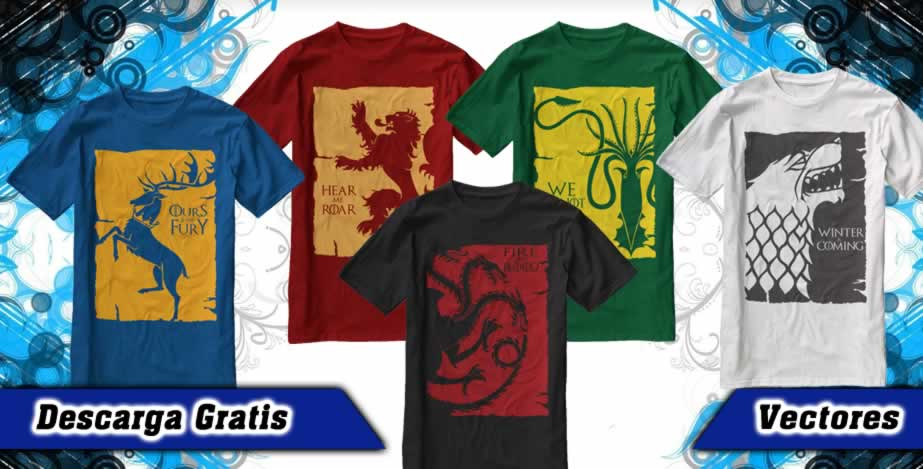 Playeras game thrones four houses vectores