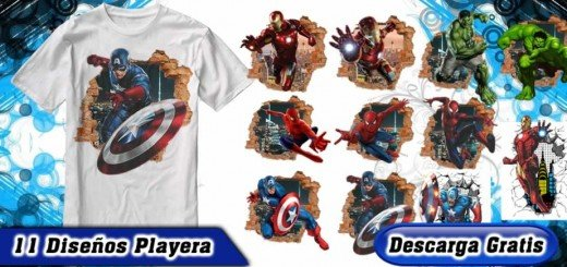 Playeras superheroes marvel pared