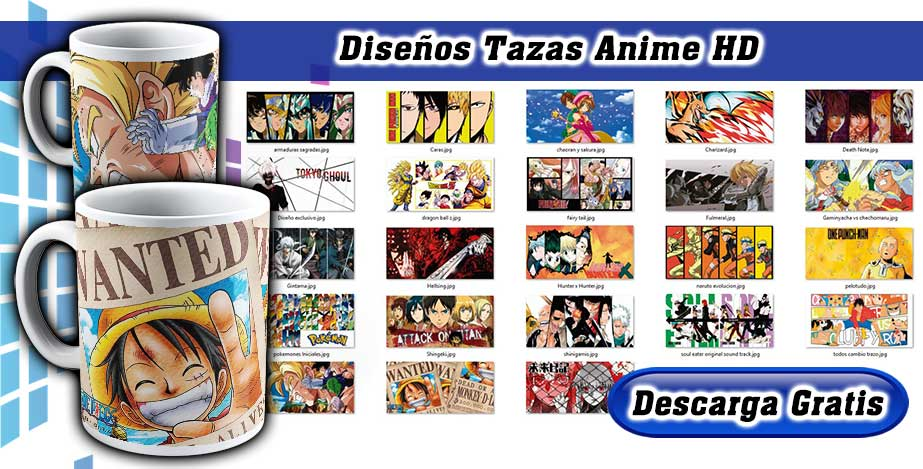 diseños tazas anime
