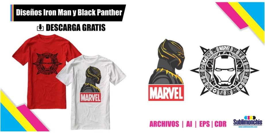 Vectores Playeras Black Panther Iron Man