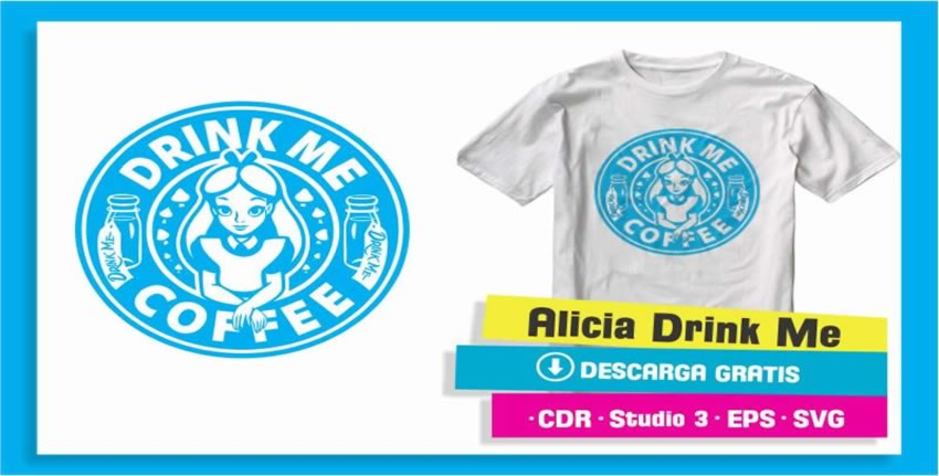 Alicia Drink Me Coffee Vector Vinil Textil