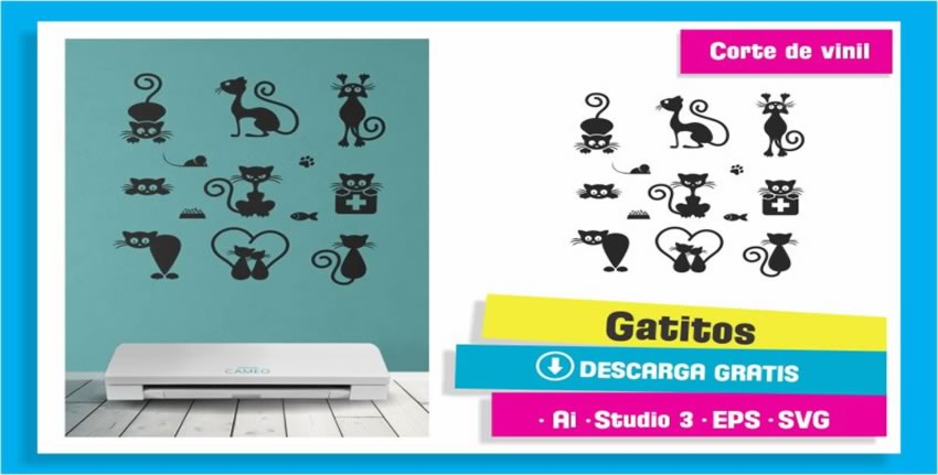 Gatitos Vinil Pared Plotter Corte Cameo 3
