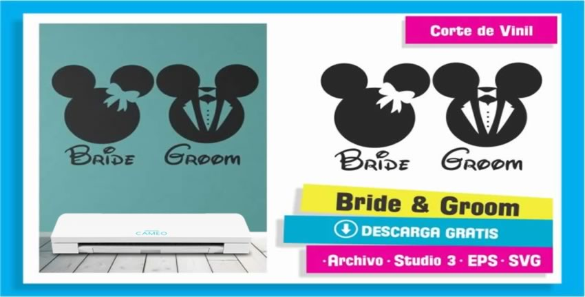 Bride Groom Mickey Mouse Vinil