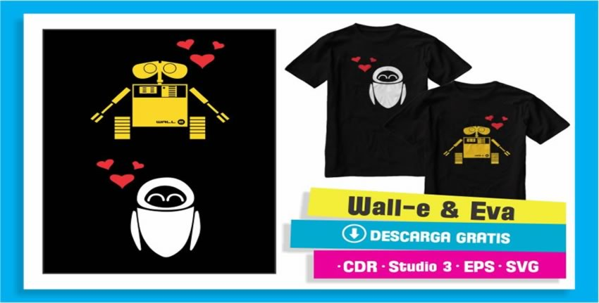 Playeras Novios Walle Eva Vectores