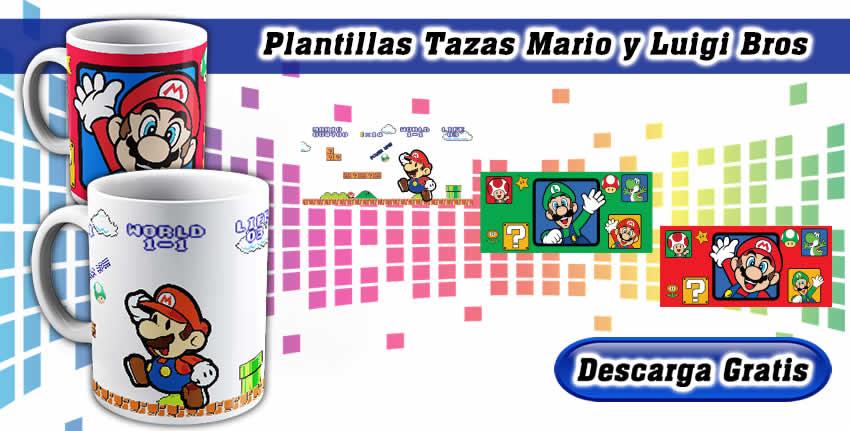 Plantillas Tazas Mario y Luigi Bros