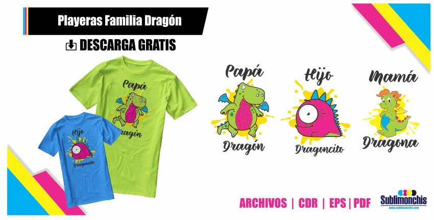 Playeras Familia Dragon Vectores