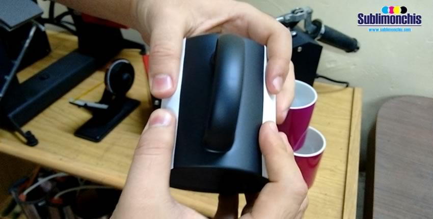 colocacion papel sublimacion taza magica negra