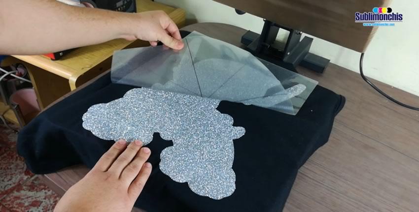 retirado liner vinil textil glitter gris