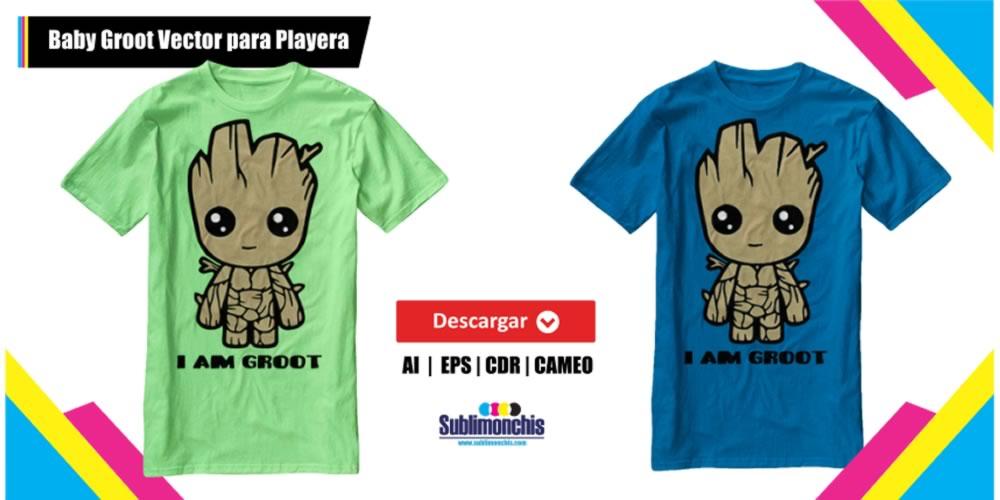 Baby Groot Vector Playera