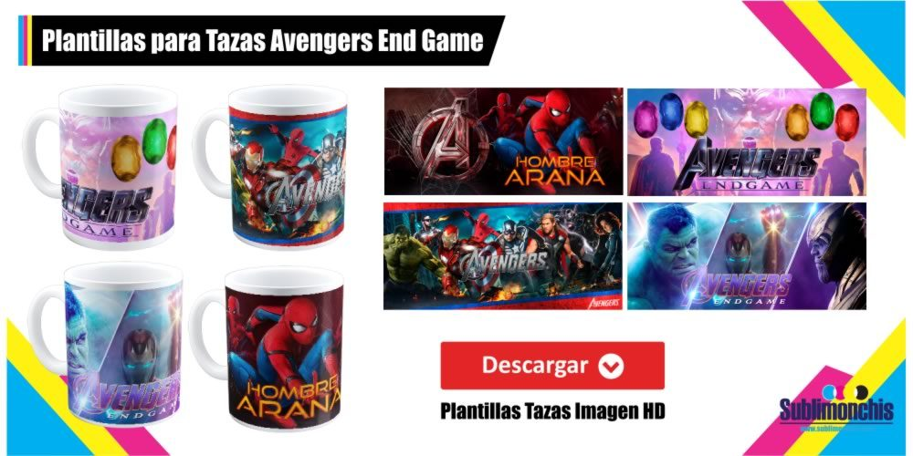 Plantillas para tazas avengers end game