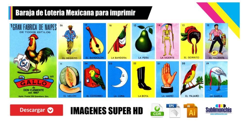 Baraja de Loteria Mexicana para imprimir