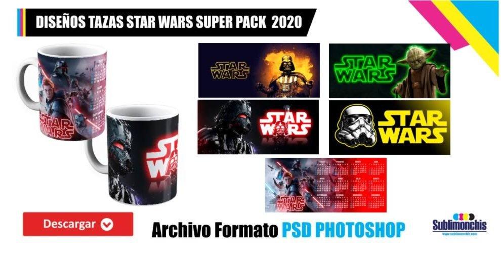 Plantillas Tazas Star Wars en PSD