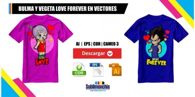 Bulma y Vegeta Love Forever Vector