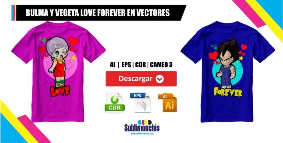 Bulma y Vegeta Love Forever Vector