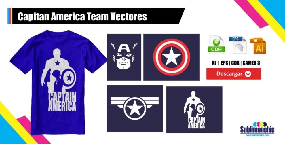 Capitan America Team Vectores
