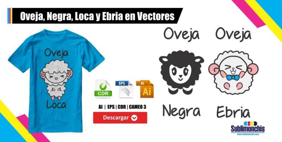 Oveja Negra Loca y Ebria en Vectores