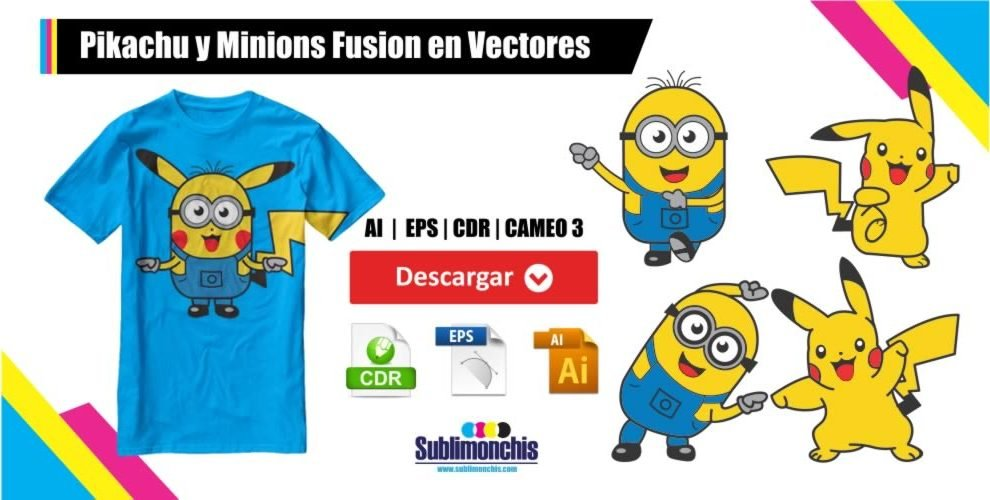 Pikachu y Minions Fusion en Vectores