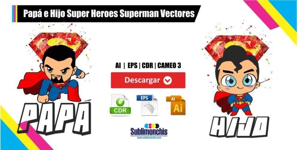 Papá e Hijo Super Heroes Superman Vectores