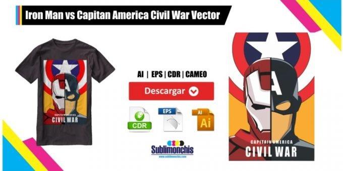 Iron Man vs Capitan America Civil War Vector